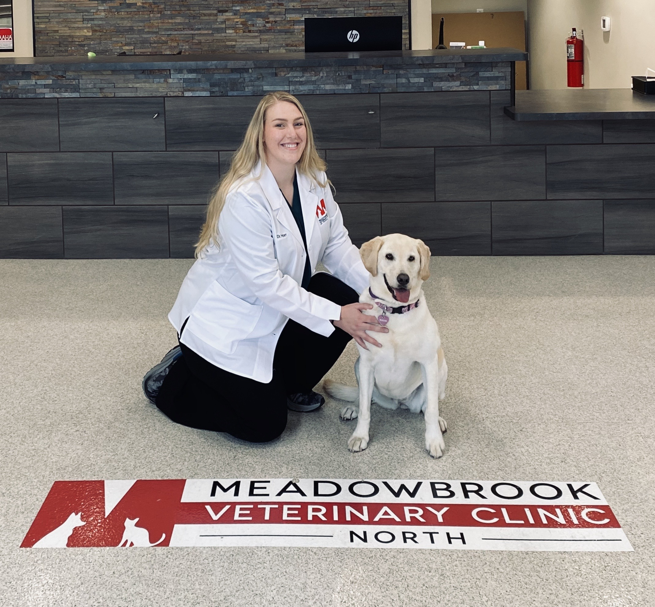 Jaclyn Hoerr, BVMS kneeling on floor of Meadowbrook Clinic with dog.